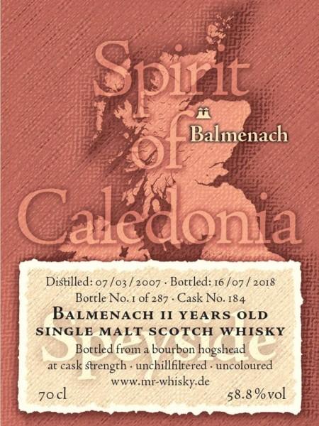 Balmenach Single Malt Whisky 11 Years - Fassanteil